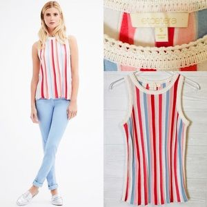 Etcetera Stripe knit top w/crochet details small